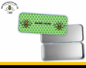 Green Honeycomb Personalised Manchester Worker Bee Pencil Tin
