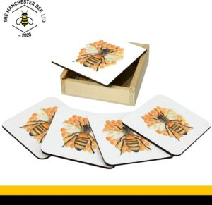 Set Of 4 Gift Boxed Coasters Honeycomb Bee