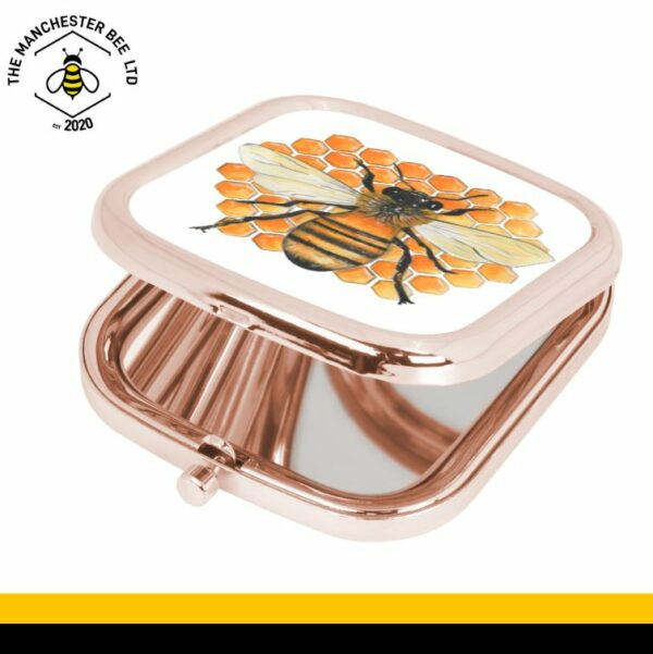 Honeycomb Bee Rose Gold Square Compact Mirror