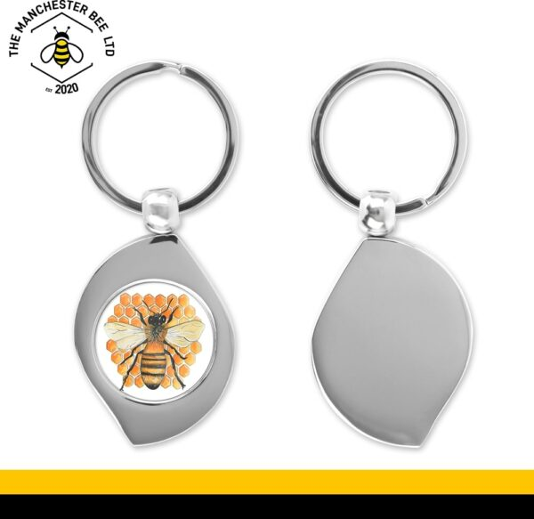 Honeycomb Bee Teardrop Keyring