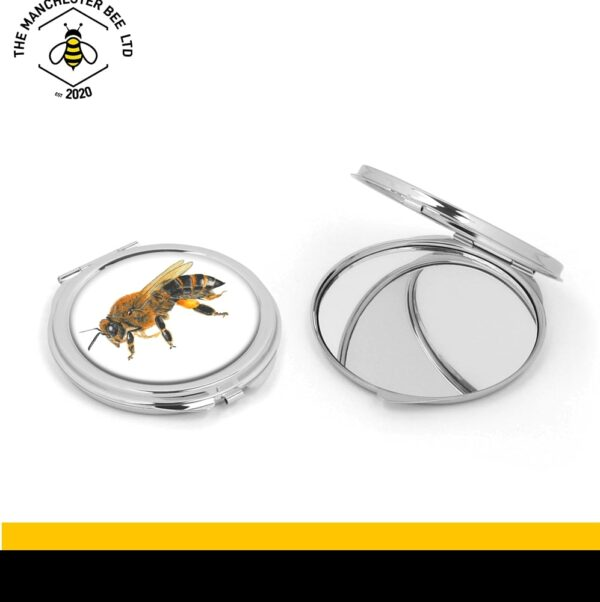 Lifelike Worker Bee Silver Compact Mirror