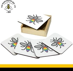 Set Of 4 Gift Boxed Coasters Manchester Pride Worker Bee