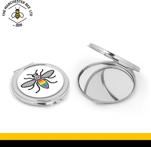 Manchester Pride Worker Bee Silver Compact Mirror