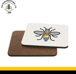 Manchester Pride Worker Bee Single Drinks Coaster