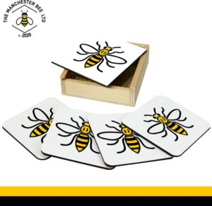 Set Of 4 Gift Boxed Coasters Manchester Worker Bee