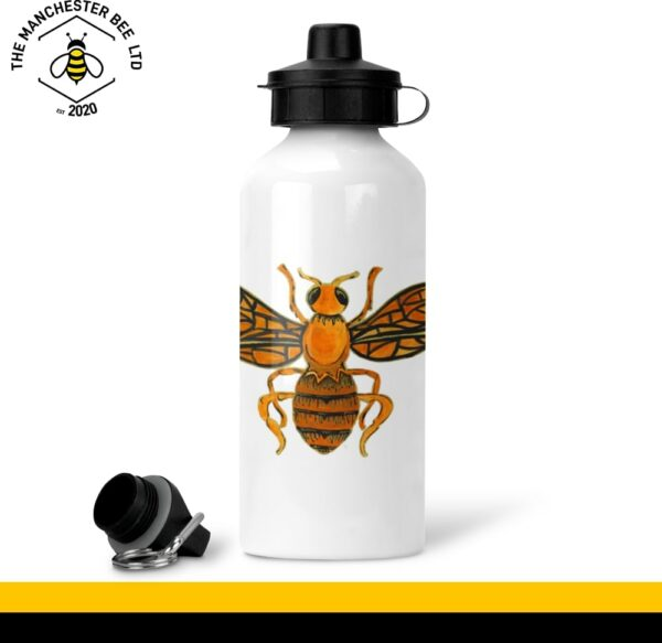 Orange Worker Bee White Aluminium Sports Bottle