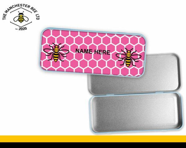 Pink Honeycomb Personalised Manchester Worker Bee Pencil Tin