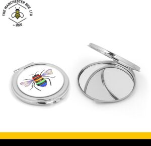 Rainbow Key Worker Bee Silver Compact Mirror