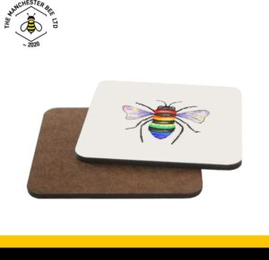 Rainbow Key Worker Bee Single Drinks Coaster