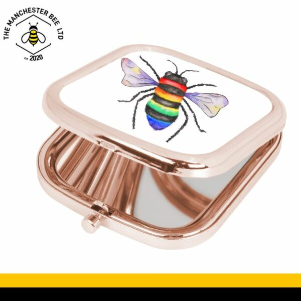 Rainbow Key Worker Bee Rose Gold Square Compact Mirror
