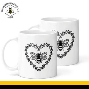 Heart Wreath Bee Ceramic Mug