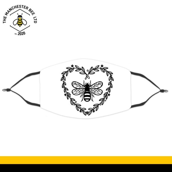 Adult Face Covering - Love Heart Wreath Bee