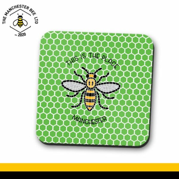Green Honeycomb This Is The Place Bee Single Drinks Coaster