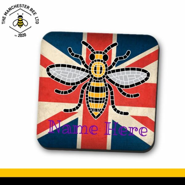 Union Jack Personalised Manchester Bee Single Drinks Coaster