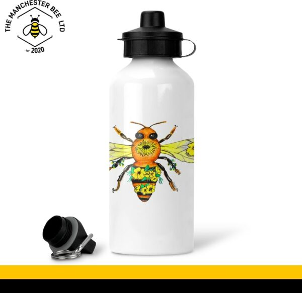 Yellow Floral Bee White Aluminium Sports Bottle