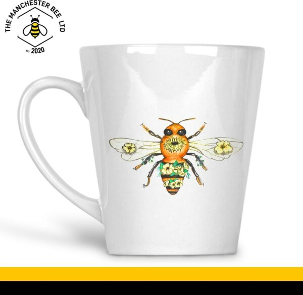 Yellow Floral Bee 12oz Latte Cup