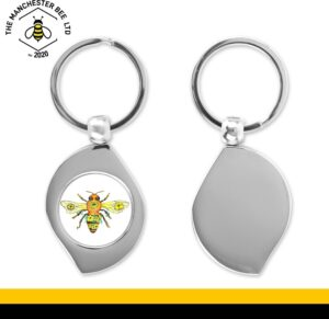 Yellow Floral Bee Teardrop Keyring