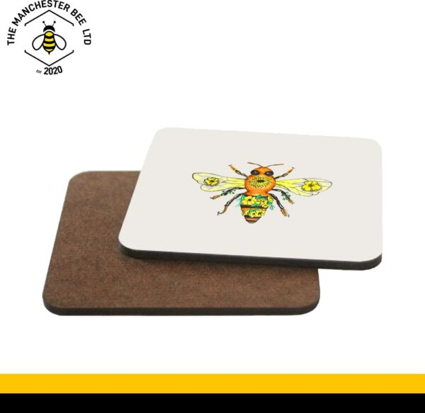 Yellow Floral Bee Single Drinks Coaster