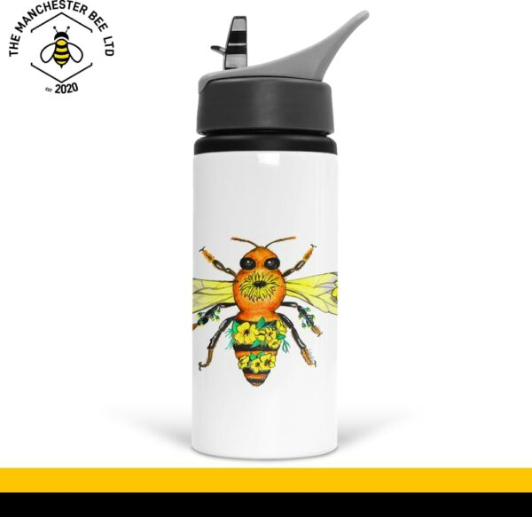 Yellow Floral Bee Sports Bottle With Handle