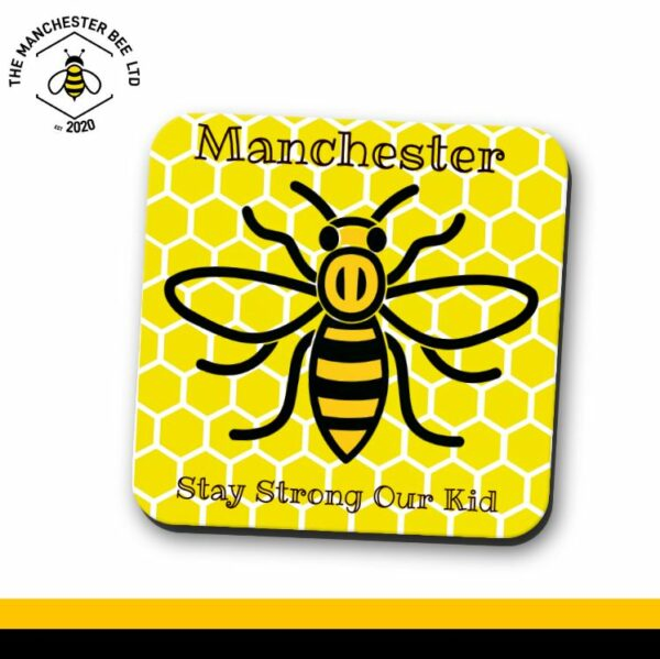 Yellow Honeycomb Manchester Stay Strong Bee Single Drinks Coaster