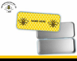 Yellow Honeycomb Personalised Manchester Worker Bee Pencil Tin