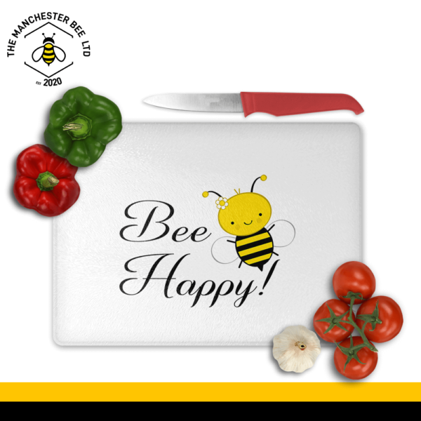 Bee Happy Large Rectangle Chopping Board