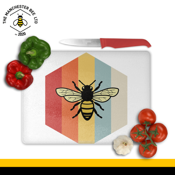 Retro Bee Print Large Rectangle Chopping Board