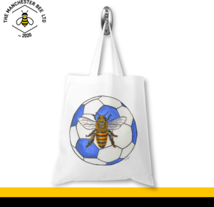 Blue Football Worker Bee Jersey Tote Bag
