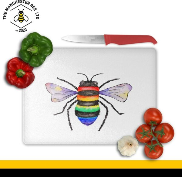 Rainbow Key Worker Bee Large Rectangle Chopping Board