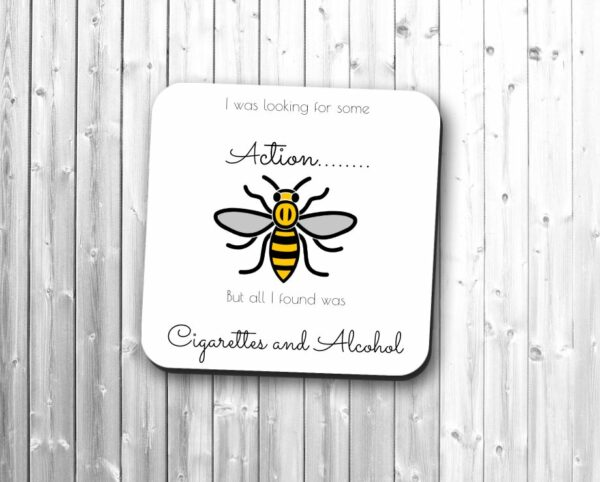 Manchester Worker Bee Cigarettes And Alcohol Oasis Single Drinks Coaster