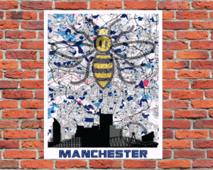 Manchester Worker Bee On Manchester Map Metal Sign A4