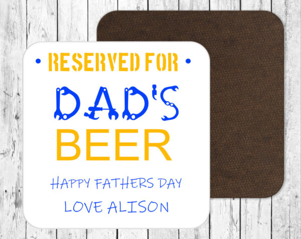 Personalised Happy Fathers Day Beer Drinks Coaster