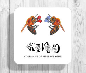 Personalised Bee Kind Boxing Worker Bees Drinks Coaster