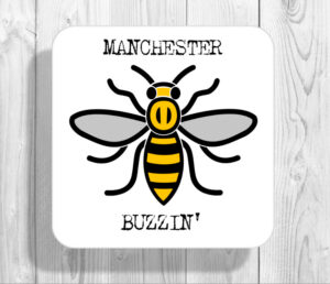 Buzzin Madchester Manchester Bee Drinks Coaster