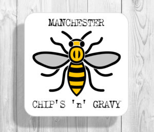 Chips 'n' Gravy Madchester Manchester Bee Drinks Coaster