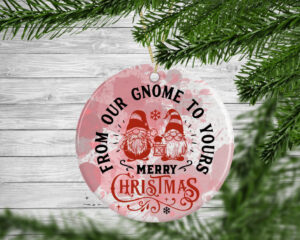 From Our Gnome To Yours Personalised Christmas Tree Decoration Bauble