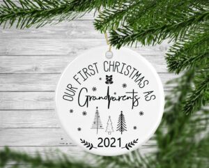 Our First Christmas As Grandparents Personalised Christmas Tree Decoration Bauble